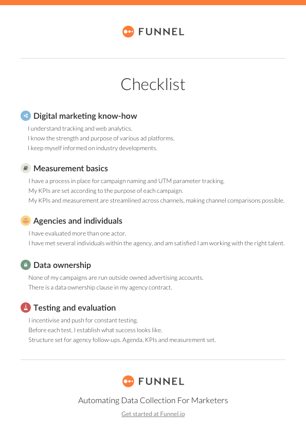 How to get the most out of your digital marketing agency checklist funnel checklist digital marketing agencyg malvernweather Images