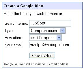 how to put name alert on google