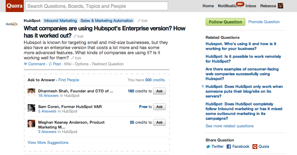 HubSpot on Quora