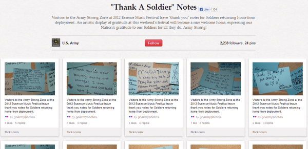 army thank a soldier testimonials resized 600 28 Creative Pinboard Ideas From Real Brands on Pinterest