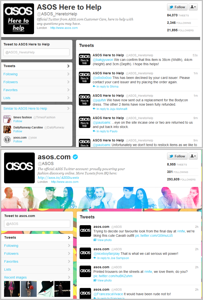 asos customer service account