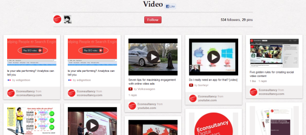 econsultancy videos resized 600 28 Creative Pinboard Ideas From Real Brands on Pinterest