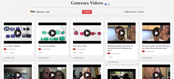 gemvara videos resized 600 28 Creative Pinboard Ideas From Real Brands on Pinterest