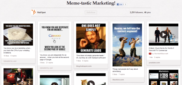 hubspot marketing memes resized 600 28 Creative Pinboard Ideas From Real Brands on Pinterest