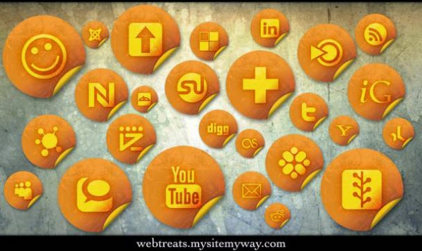 orange grunge stickers icon set