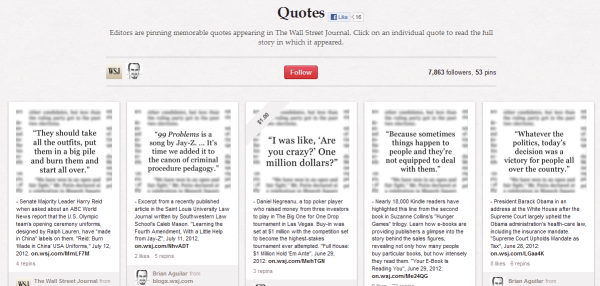 wsj quotes resized 600 28 Creative Pinboard Ideas From Real Brands on Pinterest