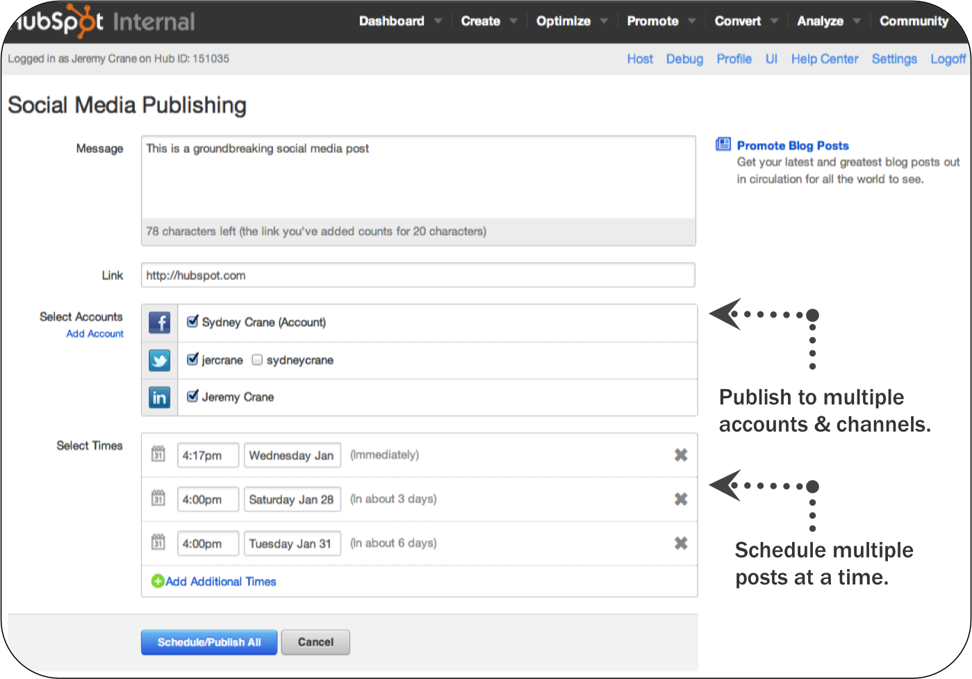 Social Media Publishing Screenshot