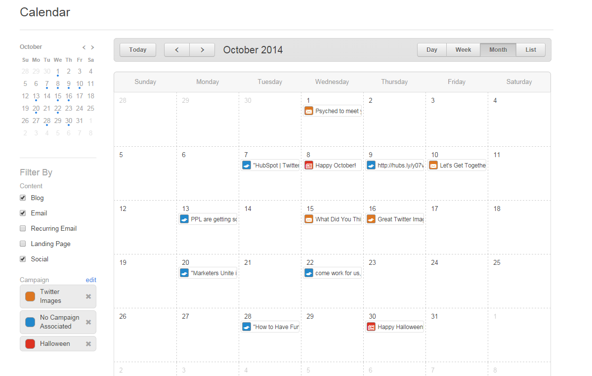 The calendar feature in the HubSpot CRM