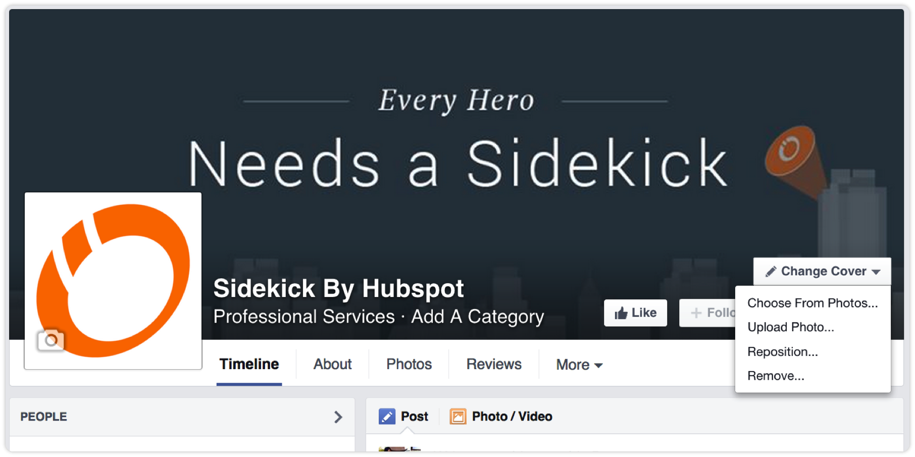 Everyheroneedssidekickbyhubspotfacebookcover How To Create A Facebook  Business Page In 5 Simple Steps [tutorial]