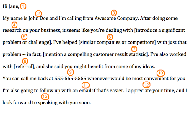 The anatomy of a perfect first contact sales voicemail template voicemailtemplate wajeb Gallery