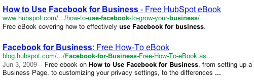 facebook for business serp placement