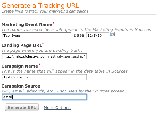 generate tracking url