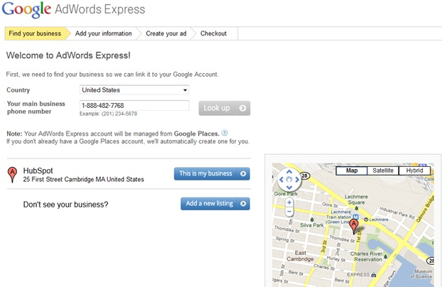 Google Adwords Express Step 1