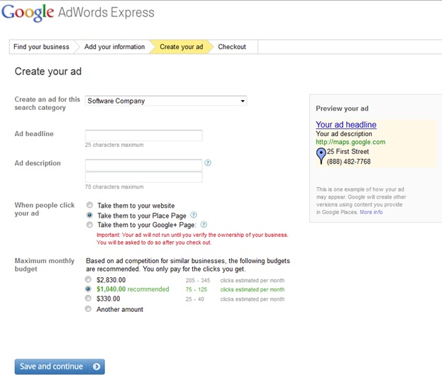 Google Adwords Express Step 3