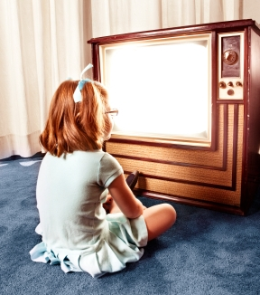 girl watching retro tv