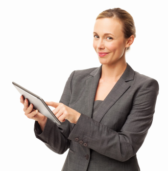 happy business woman with tablet