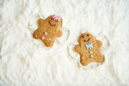gingerbread men snow angels
