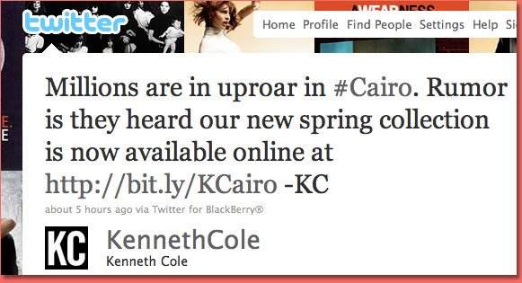 Kenneth Cole tweet causes uproar 1