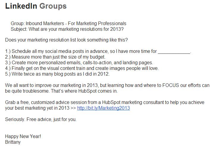 Linkedin groups email