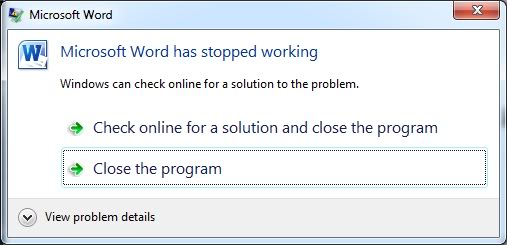 microsoft word crash