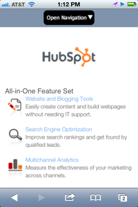 hubspot mobile site