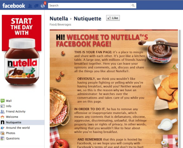 Nutella Facebook Page resized 600