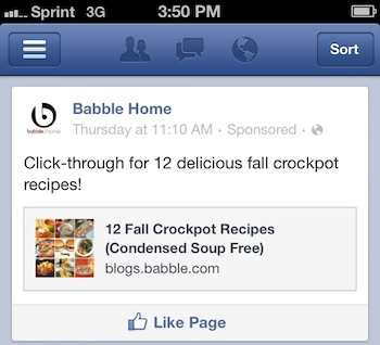 page post ad mobile