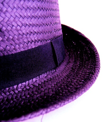 purple straw hat