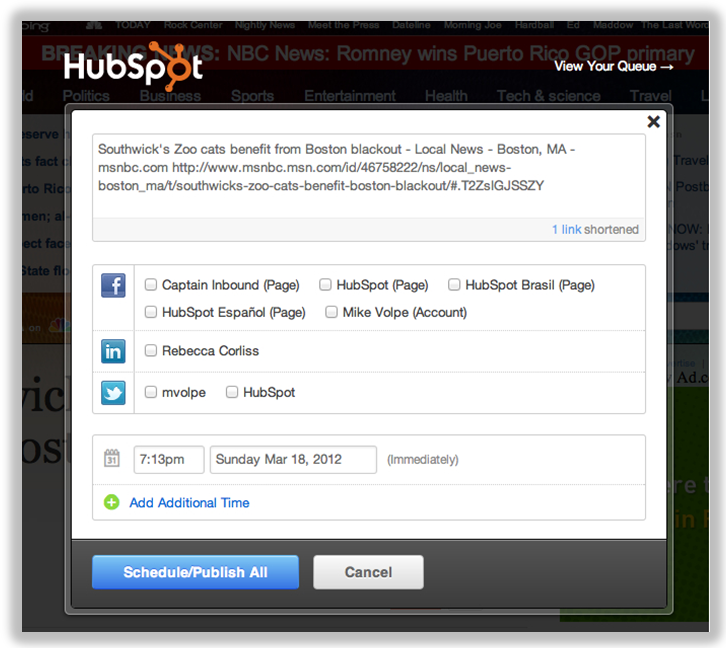 social media bookmarklet hubspot