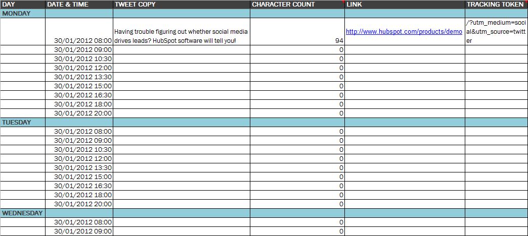 Social Media Content Schedule Template Social Media Schedule Template