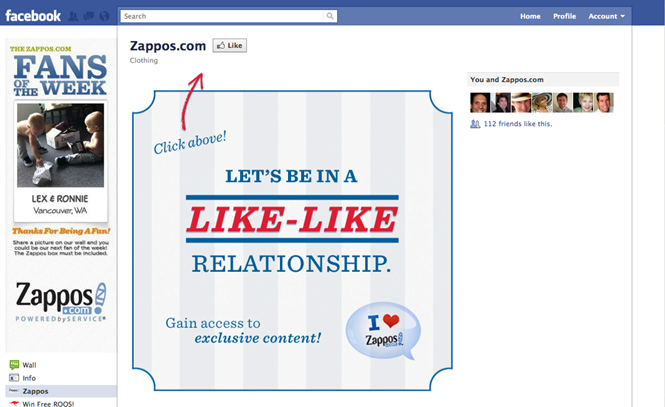 zappos facebook page conersions beisenberg