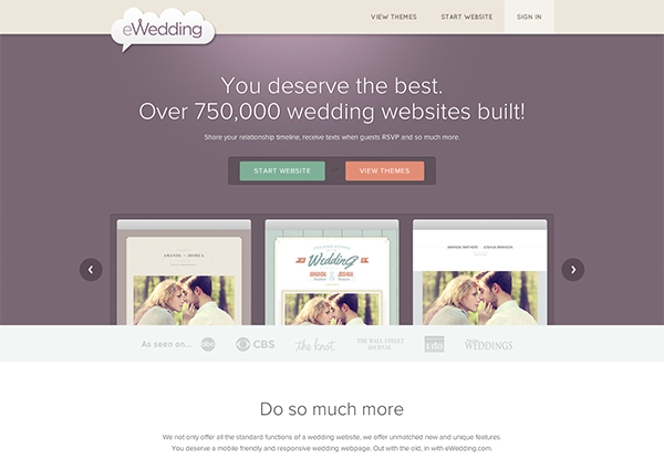 Awesome EWedding Web Site Design. VIEW ENTIRE HOMEPAGE