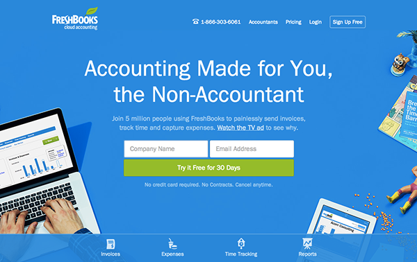 Wonderful FreshBooks Homepage Design