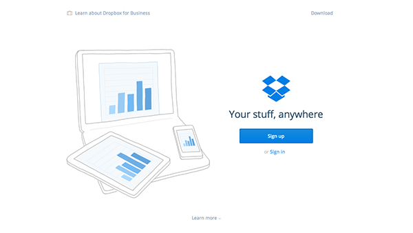 Dropbox Homepage Design 2015