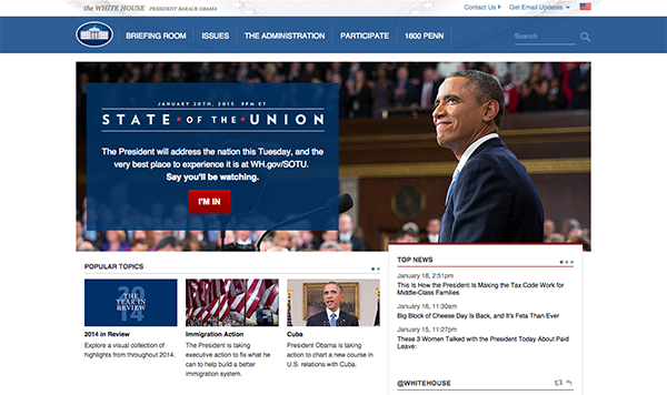Homepage Design for Whitehouse.gov in 2015