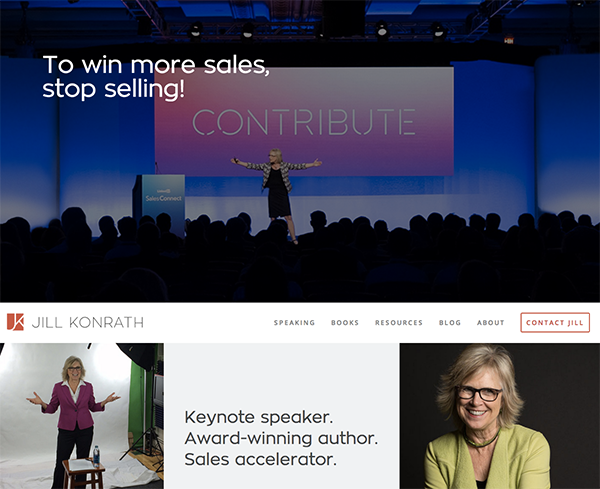 Jill Konrath Homepage Design