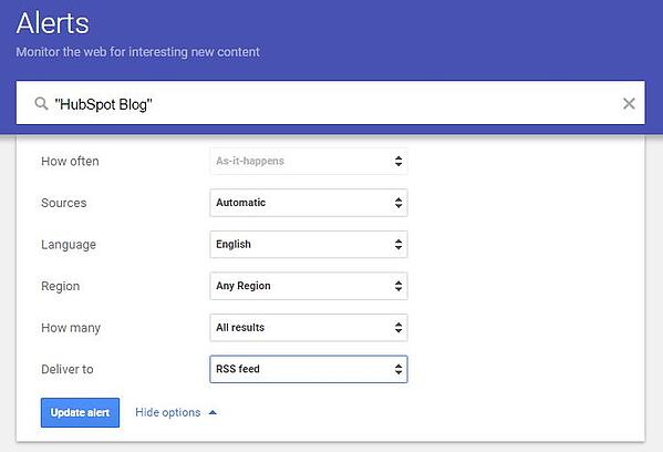 how to set up google alerts for a specific phrase