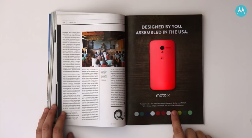 Interactive print advertisement by Motorola and Wired Magazine that changes the smartphone's color on the page