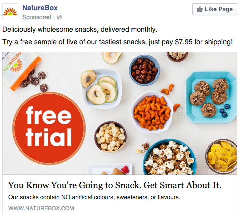 Hungry? Check out this Facebook ad from NatureBox.