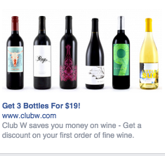 Wine bottles Facebook ad