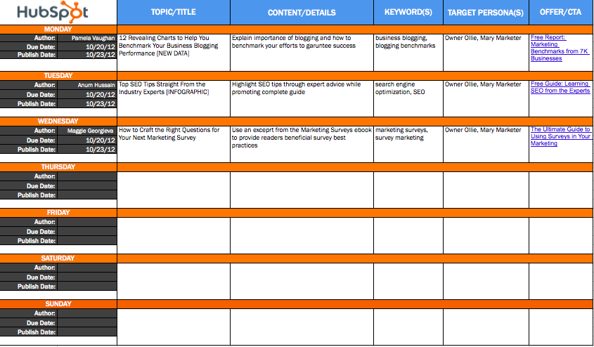The resources you need to run an inbound marketing campaign for Campaign schedule template