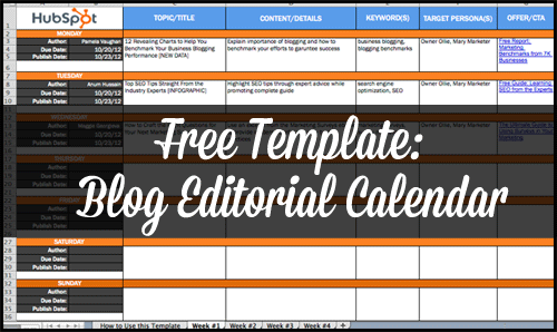 Free Template: Blog Editorial Calendar