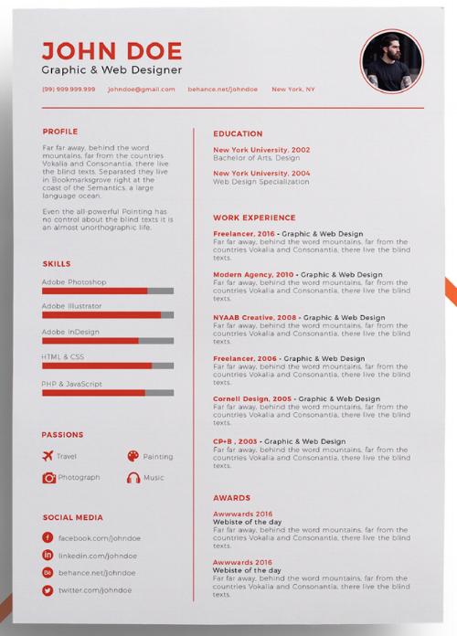 eye catching resume template