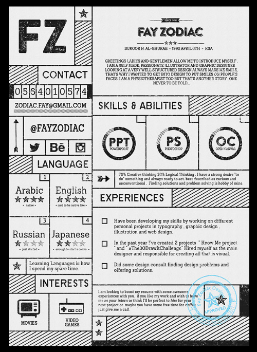 Typography Resume Template For Illustrators And Graphic Designers