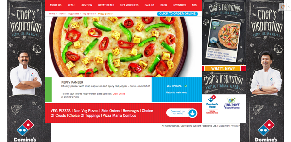 Domino's website with pizza catering to international tastes