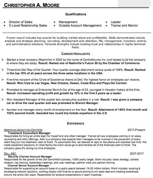 enterprise sales resume