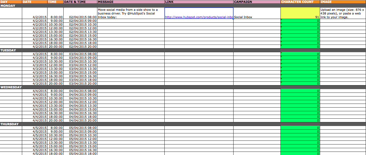 Social Media Content Schedule Template Social Media Planning Template