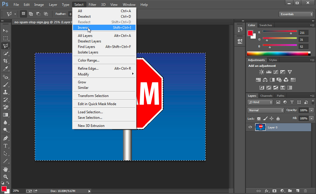 Inverse option in Photoshop