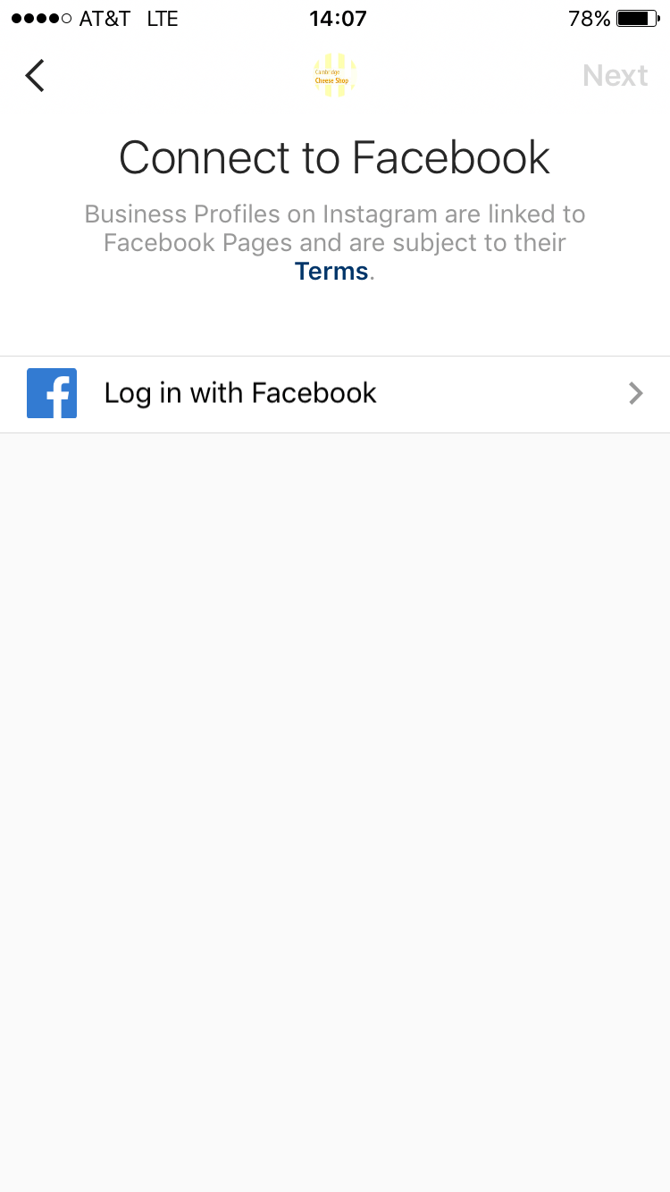 login with fb on ig