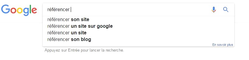 Suggestion mots-clés Google